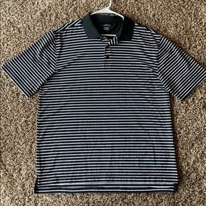 Black & White Striped bcg Active Polo T-shirt